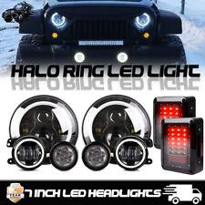 7 Inch Halo LED Headlight 4'' Fog Turn Lamps For Jeep Wrangler JK Combo Kit