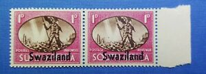 South Africa 1945 over printed Swaziland 1d  block x 2 stamps MNH  carmine/brown