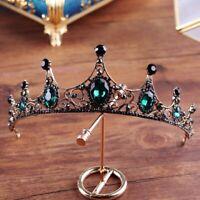 Baroque Vintage Black Green Crystal Tiara Wedding Bridal Hair Accessories Crown