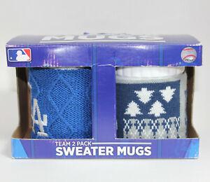 NIB Los Angeles Dodgers Team 2 Pack Ugly Sweater Christmas Mugs