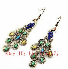 Tibet Silver Peacock Earrings Fashion Charm Classical Jewellery Lucky Amulet A1