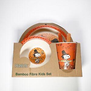 Peanuts Woodstock & Snoopy Thanksgiving Holiday 5pc Bamboo Fibre Kids Dish Set