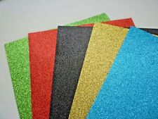 10 x SHEETS A5 GLITTER PAPER 160GSM. 5 COLOURS TO CHOOSE