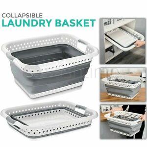 Large Collapsible Laundry Basket Folding Cloth Washing Pop Up Bin Space Saving