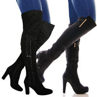 GIRLS WOMENS KNEE HIGH HEELS LADIES LONG SEXY STILETTO THIGH LEATHER BOOTS SIZE