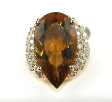 Huge Pear Citrine & Diamond Halo Solitaire Ring 14k Rose Gold 12.62Ct