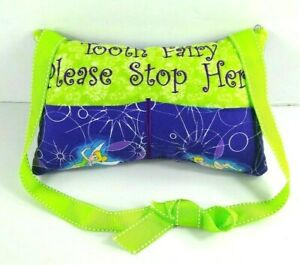 """Disney Tinkerbell Tooth Fairy Pillow Green Purple W Strap Small 9 x 5.5"""" Girl"""