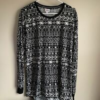 Lularoe Black White Aztec Long Sleeve Hudson Tee T-shirt Size Large NWT