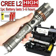 Police LED Flashlight Tactical 20000LM XM-L2 Zoomable Torch Lamp AAA 18650 UK021