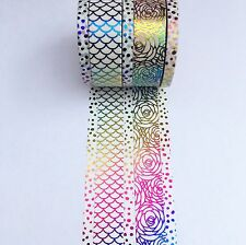 Rainbow Foil Washi Tape Mermaid Rose Sparkles 5 Roll Set