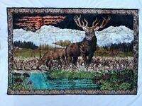 """Vintage Elk Deer Velvet Tapestry Rug Wall Hanging Landscape LARGE 69"""" X 46"""""""