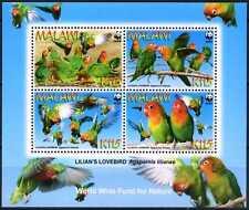 Malawi 2009 birds parrots Lilianés Lovebird WWF collective s/s MNH