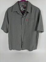 Tony Hawk Mens Gray Check Plaid Short Sleeve Button Up Shirt Size Small