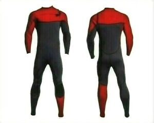 New Large Red Gray Chest Zip Wetsuit 3mm Neoprene Full Body Front Zipper Surf