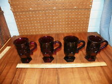 Vintage Set Of 4 Avon 1876 Cape Cod Ruby Red Glass Coffee Mugs / Cups $