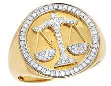 Men's 10K Yellow Gold Genuine Diamond Libra Scales Zodiac Pinky Ring 3/8 Ct 20MM