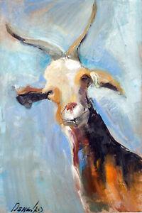 Demenko Natalia Goat Portrait Impressionism Stylish Modern Art Oil painting