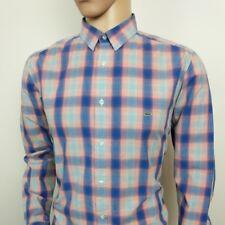 """Lacoste Live Camisa Para Hombres Azul Rojo A Cuadros Talla 42 Reino Unido L, 16"""" Collar RRP £ 110"""