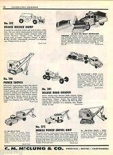 1957 ADVERT Toy Trucks Structo Power Shovel V Snow Blade Hubley Buddy L Dump