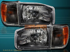 For 99-04 Nissan Pathfinder 4D Crystal Headlight Black Housing w/Corner Lights