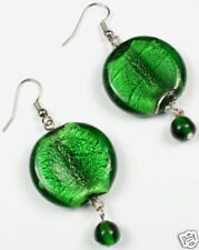 Emerald Green Foil Glass Earrings Chunky Match Necklace