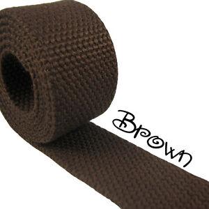 """1 Yard Dark Brown 1.25"""" Medium Heavy Weight Cotton Webbing"""