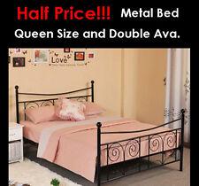 Joy Queen Size Black Metal Bed Frame with Posture Slats