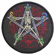 Pentagram Skeleton Sew-on Patch by Alchemy Gothic - Round 3.75 Inches