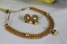 Bollywood Style Ethnic Indian Gold Plated  Pearl Jewellery Necklace Earrings 130