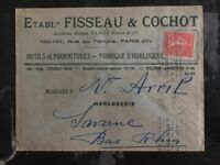 1926 Paris FraNce Commercial Cover Perfin Stamp Fisseau & Cochot