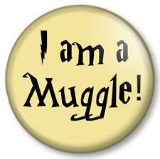 "I am a Muggle! 1"" Pin Button Badge Harry Potter Human Born Magic JK Rowling Book"