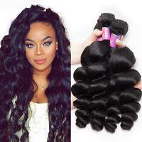 100% Brazilian Virgin Human Loose wave hair Extensions 1-3 Bundles Weave Weft