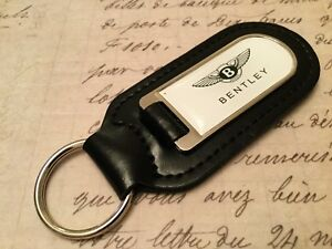 BENTLEY WHITE PRINTED BLACK LEATHER KEY RING FOB SPUR CONTINENTAL GT BENTAYGA