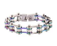 Womens Ladies Stainless Steel Muti-Color Rainbow Bike Chain Bracelet USA Seller!