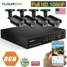 Floureon 8Ch Dvr Cctv Security System 1080P Ahd Video Surveillance Camera Kit