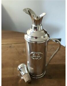 Vintage Collectible Gucci GG Large Silver Plate Insulated Decanter Flask. Gift