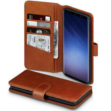 LUSSO REAL LEATHER WALLET CASE PER SAMSUNG GALAXY S9 Plus-Cognac
