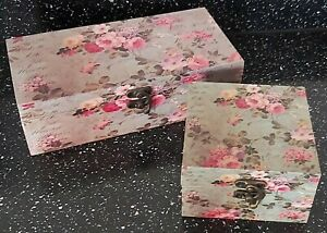 Set Of 2 Vintage Floral  Decorative Storage Boxes
