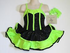SKATING DRESS Competition Black & Lime Green Ice Figure Skate Costume CHILD L