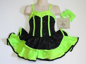 SKATING DRESS Competition Black & Lime Green Ice Figure Skate Costume CHILD S
