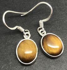 Tigers eye gemstone oval drop earrings, solid Sterling Silver, New, actual ones.