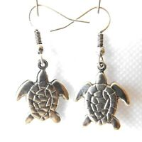 SILVER PLATED SEA TURTLE TORTUGA EARRINGS, DANGLE DROP STYLE HOOK FITTING