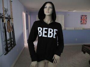 Bebe Black Twist Front Logo Hoodie Top XS NWT$89