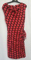 Ladies PHASE EIGHT Midi Dress Size 16 Red Polka Dot Stretch Belt Sleeveless