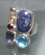 925 sterling silver blue copper turquoise ring UK M¾/US 6.75. Gift bag.