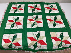 """Handmade Vintage Quilted Tree Skirt. Unique Square 35"""" Star design"""