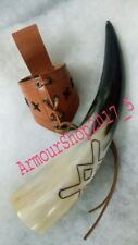 Medieval Norwegian Viking Natural Drinking Leather Frog Bovine Ale Horn