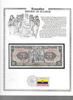 Ecuador 20 Sucres 1983 P 115b UNC w/ FDI UN FLAG STAMP Serie LJ