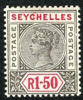 Seychelles 1897 grey/carmine 1r.50c crown CA Die II mint SG35