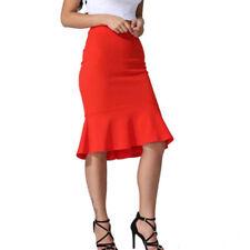 Women Elegant High Waist Straight Slim Mermaid Bodycon Pencil Dress Midi Skirt S